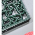 Green Square Cast Iron Trivet Details