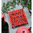 Red Cast Iron Square Trivet in Situ with Teapot