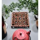 Rustic Cast Iron Square Trivet with Teapot