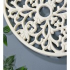 Cream Cast Iron Oval Trivet Close-Up