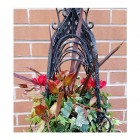 Black hanging basket with flowers
