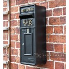 Black Slim King George Post Box with Gold Text