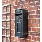 Black & Gold Slim King George Post Box in Situ on a Brick Wall