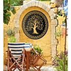 "Round ""Olive Tree"" Wall Art on a Yellow Wall in the Garden"