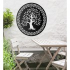 "Round ""Olive Tree"" Wall Art in the Garden Above a Wooden Table and Chair Set"