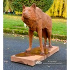 "Rustic Cast Iron ""Looking Forward"" Wolf Sculpture in Situ in the Garden"