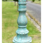 Ornate Detailing and Blue Cast Iron Lamp Post Column