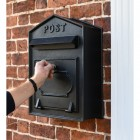 All Black Wall Mounted Post Box to Scale