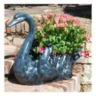 Pale Verdigris Swan Flower Planter in situ