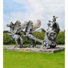 Perseus and Medusa Head Riding Chariot Sculpture