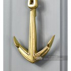 Polished Brass Captain Door Knocker With Anchor Motif
