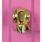 Polished Brass Frog Door Knocker Fitted Onto Pink Front Door