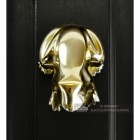 Polished Brass Frog Door Knocker on a Black Door