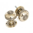 Polished Brass Ridged Door Knob Set