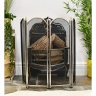 Polished Nickel Four Fold Fire Guard