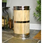 """Hofburg"" Wooden & Polished Brass Log Basket"