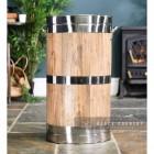 Polished Steel & Wooden Log Basket