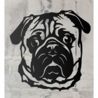 Pug Metal Wall Art Silhouette on a Rustic Wall