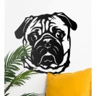Pug Wall Art in Situ on a White Wall