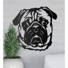 Metal Pug Wall Art on a Grey Wall