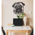 Metal Pug Wall Art at Home in the Office