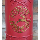 "Gold ""Reindeer Express"" Text on the Front of the Post Box"
