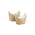 Set of 2 Traditional Rattan Log Baskets