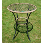 Rattan & Iron Table with Glass Table Top