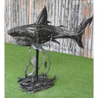 Side View of the Recycled Rubber Car Tyre Shark Sculpture