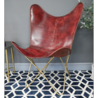 """Red """"Butterfly"""" Leather Chair in Situ"""