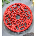 Red Heavy Duty Round Trivet Created From Cast Iron