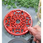 Red Heavy Duty Cast Iron Round Trivet to Scale