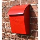 Bright Red Contemporary Post Box With Lock