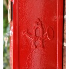 Red The Suffolk Post or Parcel Box Close Up