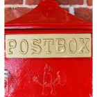 Red The Suffolk Post or Parcel Box Gold Letter Flap