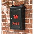 Black & Red Wall Mounted Post Box