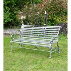 """Iron Rustic Grey Robust """"Chatham"""" Park Bench in Situ"""