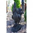 Cast Iron Black Rooster Sculpture
