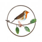 Robin Perched on a Branch Wall Art in a Hand Painted Finish