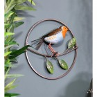 Red Robin Wall Art in a Round Metal Frame