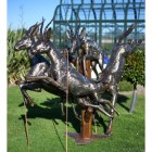 Recycled Metal Antelopes Being Chased By Cheetah Sculpture