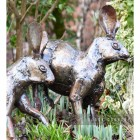 Recycled Metal Running Rabbit Sculpture