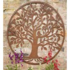 Rustic Bird & Tree Round Wall Art in Situ with Flowers