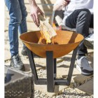 Burning Wood in the Rustic & Black Fire Bowl