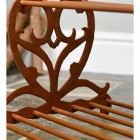Rustic Brown Cast Iron Heart Shoe Rack Close Up