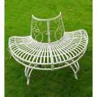 Scrolled Rustic Cream Tree Seat Outside
