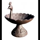Peacock Design Bird Bath in a Rustic Finish