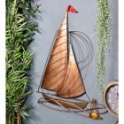 Rustic Sailing Boat Wall Art on a Blue Wall