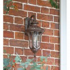 Rustic Traditional Wall Lantern Next to the Front Door