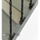 Black Iron Double Basket Stair Spindle With Mounting Brackets